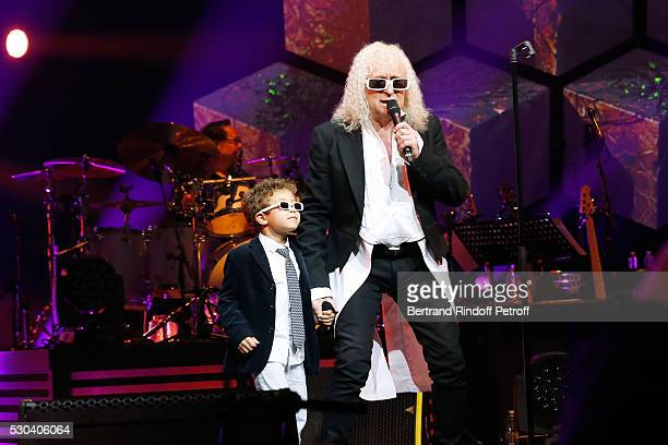 Michel Polnareff and his son Louka perform at Accor Hotels Arena Bercy : Day 3 on May 10, 2016 in Paris, .