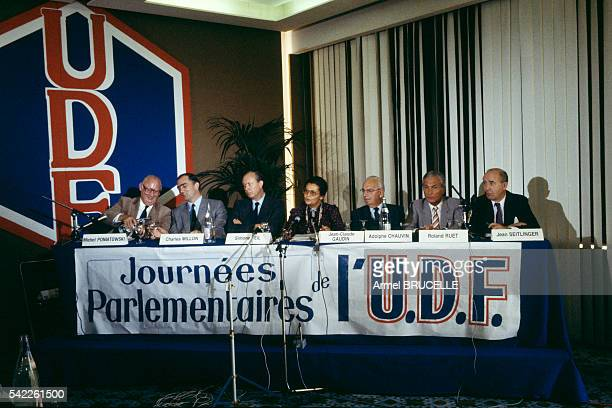 Michel Poniatowski Charles Millon Simone Veil JeanClaude Gaudin Adolphe Chauvin Roland Ruet and Jean Seitlinger attend a meeting of the French...