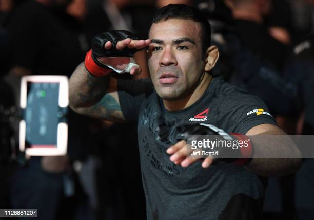 Michel Prazeres of Brazil prepares to fight Ismail Naurdiev of Austria in their welterweight bout during the UFC Fight Night event at O2 Arena on...
