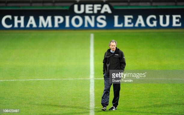 Michel Preud Homme head coach of Twente ponders during a training session at the Weser Stadium on November 1 2010 in Bremen Germany Werder Bremen...