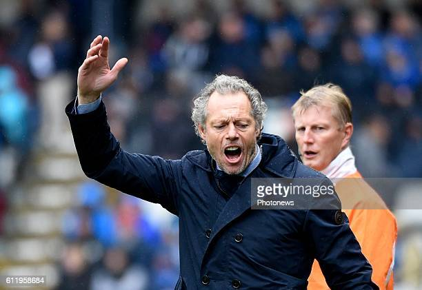 Michel Preud'homme head coach of Club Brugge gestures pictured during Jupiler Pro League match between Club Brugge KV and KAA Gent on OCTOBER2 2016...