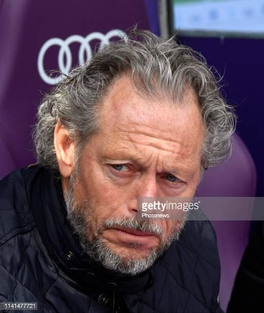 Michel Preud'homme head coach of Standard Liege looks dejected pictured during the Jupiler Pro League match between RSC Anderlecht and Standard de...