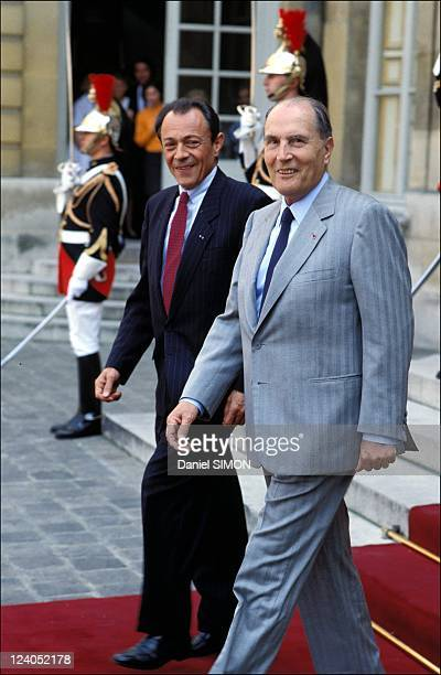Michel Rocard and Francois Mitterrand at Elysee Palace in Paris France on May 09 1989