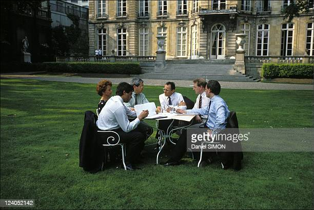 Michel Rocard and members of cabinet in the gardens of Hôtel Matignon in Paris, France on May 15, 1988.
