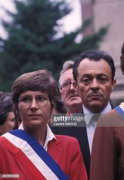 Michel Rocard lors d'un rassemblement de soutien à la démocratie à Dreux le 9 septembre 1983 France