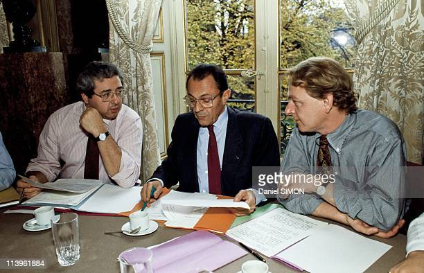 Michel Rocard with his Associates In Paris France On November 19 1990French Prime Minister Michel Rocard with his associates Jean Paul Huchon and Guy...
