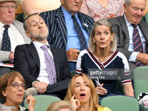 Michel Roux Jr and Giselle Roux sit in the royal box on day three of the Wimbledon Tennis Championships at the All England Lawn Tennis and Croquet...