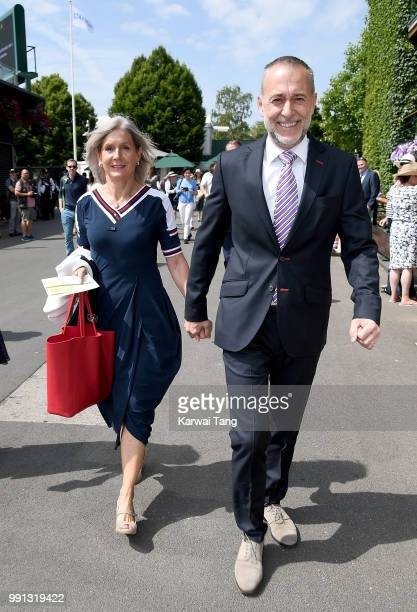Michel Roux Jr and wife Giselle Roux attend day three of the Wimbledon Tennis Championships at the All England Lawn Tennis and Croquet Club on July 4...