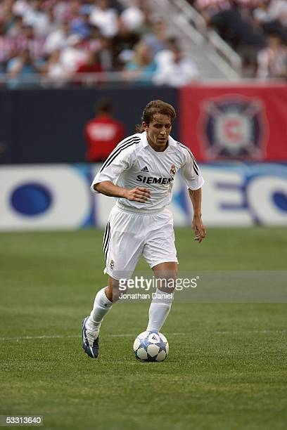 Michel Salgado 2# of Real Madrid dribbles the ball against Chivas De Guadalajara during a friendly on July 16, 2005 at Soldier Field in Chicago,...