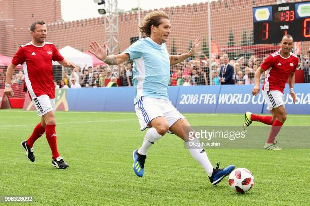 Michel Salgado controls the ball during the Legends Football Match in 'The park of Soccer and rest' at Red Square on July 11 2018 in Moscow Russia