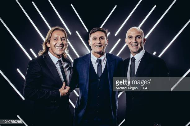 Michel Salgado Javier Zanetti and Esteban Cambiasso are pictured inside the photo booth prior to The Best FIFA Football Awards at Royal Festival Hall...