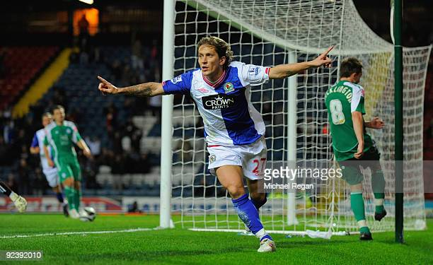 Michel Salgado of Blackburn celebrates scoring to make it 3-2 during the Carling Cup 4th Round match between Blackburn Rovers and Peterborough United...