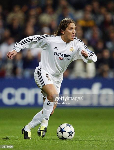 Michel Salgado of Real Madrid runs with the ball during the UEFA Champions League Quarter Final, First Leg match between Real Madrid and Monaco held...