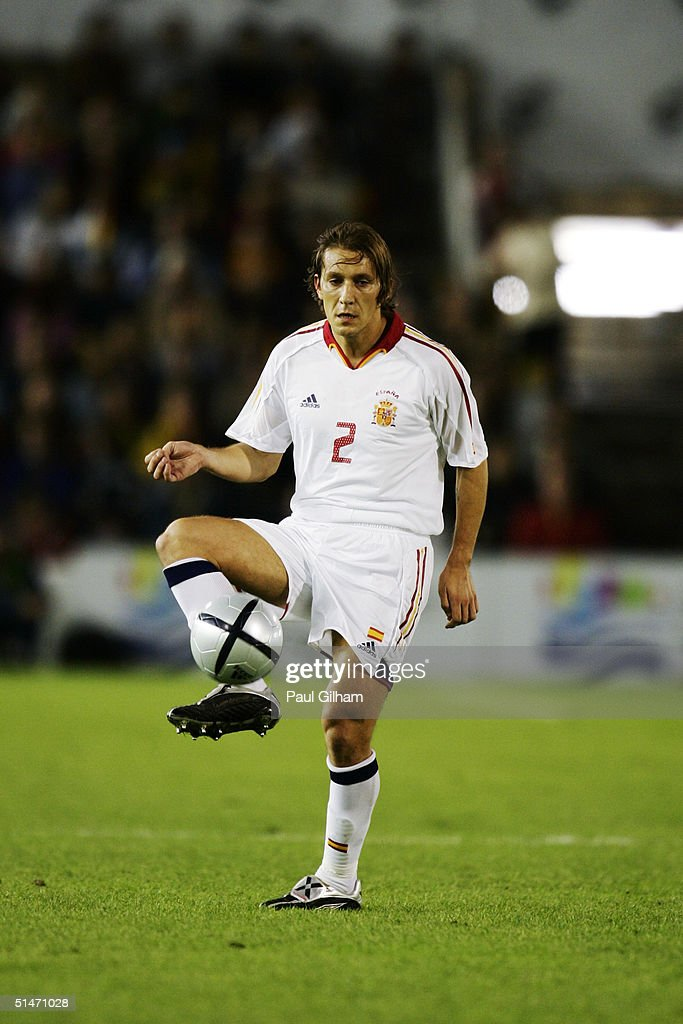Michel Salgado of Spain controls the ball during the group seven 2006 World Cup qualifying match between Spain and Belgium at El Sardinero Stadium on October 9, 2004 in Santander, Spain.