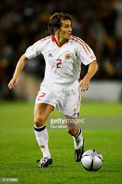 Michel Salgado of Spain in action during the group seven 2006 World Cup qualifying match between Spain and Belgium at El Sardinero Stadium on October...