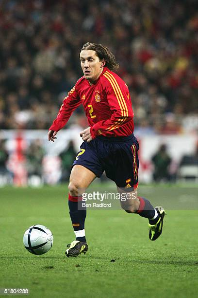Michel Salgado of Spain in action during the international friendly match between Spain and England on November 17, 2004 at the Estadio Bernabeu in...