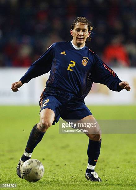 Michel Salgado of Spain puts his foot on the ball during the UEFA European Championships 2004 play-off second leg match between Norway and Spain held...