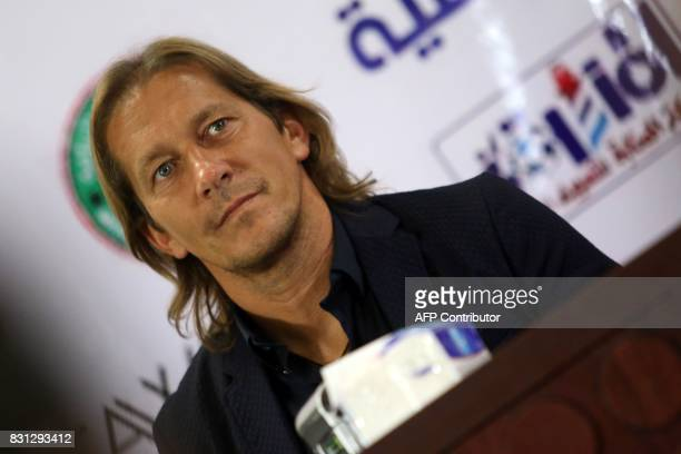 Michel Salgado retired Spanish footballer answers reporters questions at the stadium in Basra on August 14 2017 ahead of a match between...