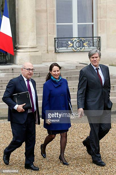 Michel Sapin French Minister of Finance and the Public Accounts Segolene Royal French Minister of Ecology Sustainable Development and Energy and...