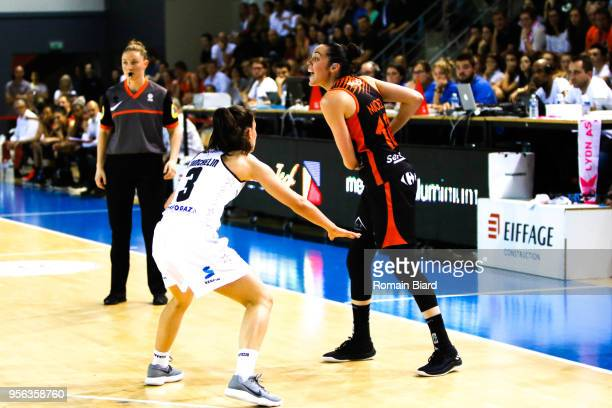 Michel Sarah of Bourges and Franchelin Coline of Lyon during the Women's League Semi Final Second Leg match between Lyon Asvel Feminin and Tango...