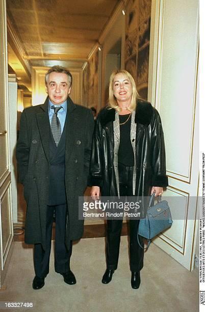 Michel Sardou and Babette at Jean Claude Camus Accepts Officier Des Arts Et Lettres In 1997