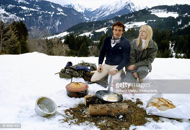 Michel Sardou and His Wife on Holiday in Megeve