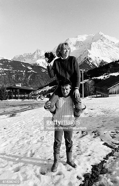Michel Sardou and Mireille Darc on Holiday in Megeve