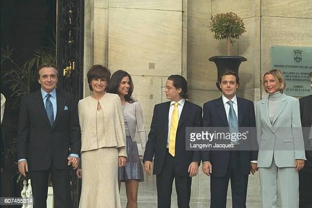 Michel Sardou AnneMarie Périer and Michel Sardou's sons Davy and Romain with friends