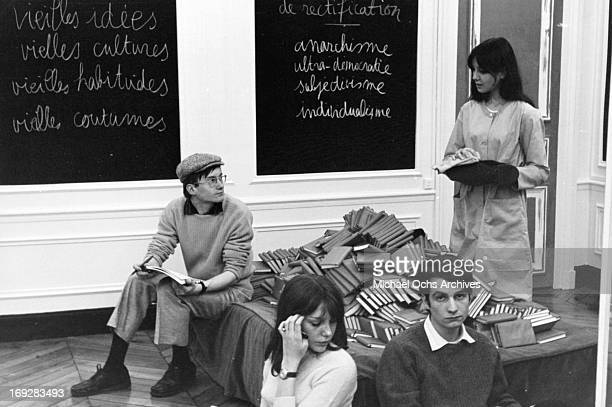 Michel Semeniako Anne Wiazemsky JeanPierre Leaud and Juliet Berto in classroom in scene from the film 'La Chinoise' 1967
