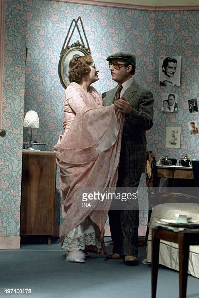 Michel Serrault and Andréa Ferréol in a scene of dance during the shooting of the television film 'Crosses Him wall' adapted and realized for the...