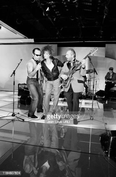 Michel Serrault, Jane Birkin et Guy Marchand lors de l'enregistrement de l'émission de télévision 'Champs-Elysées' à Paris le 9 avril 1982, France.