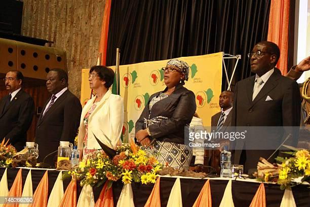 Michel Sidibe Executive chairperson of UNAIDS; Zimbabwe Prime Minister Morgan Tsvangirai, United Nations Commissioner for Human Rights Ms Navanethem...