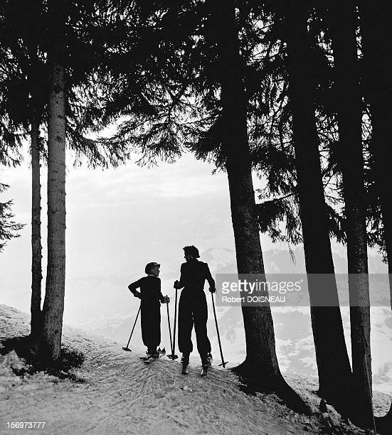 Michel Soulages and Pierrette Doisneau skiing, 1936 in Megeve, France.
