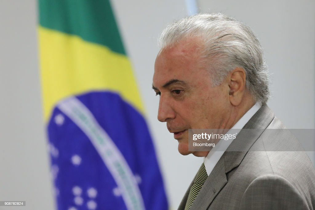President Temer Announces Funds For Federal District Subway Expansion Before Leaving For Davos : News Photo