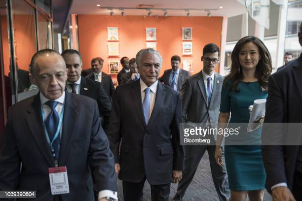 Michel Temer Brazil's president center arrives for a Bloomberg Television interview in New York US on Monday Sept 24 2018 Brazil in August recorded...