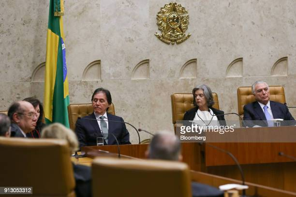 Michel Temer Brazil's president from right Carmen Lucia chief justice of the Federal Supreme Court and Eunicio Oliveira president of Brazil's senate...