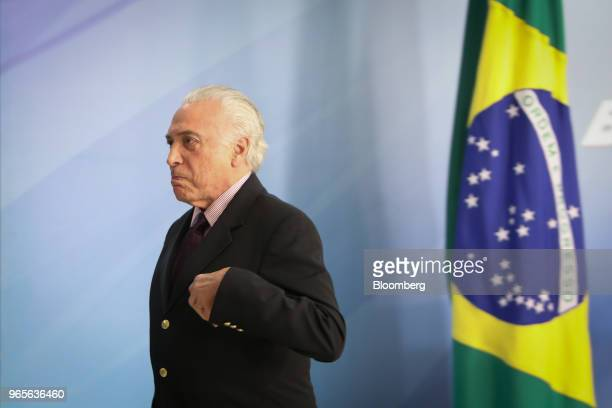 Michel Temer Brazil's president leaves after speaking at a press conference on the resignation of Petroleos Brasileiros SA chief executive officer in...