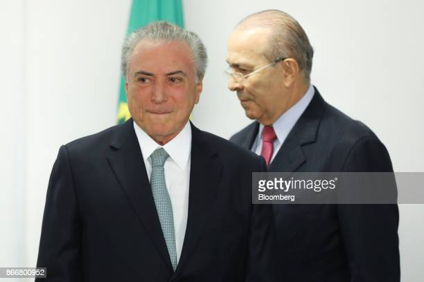 Michel Temer Brazil's president left and EliseuPadilha Brazil's chief of staff arrive to an event in Brasilia Brazil on Thursday Oct 26 2017 At the...