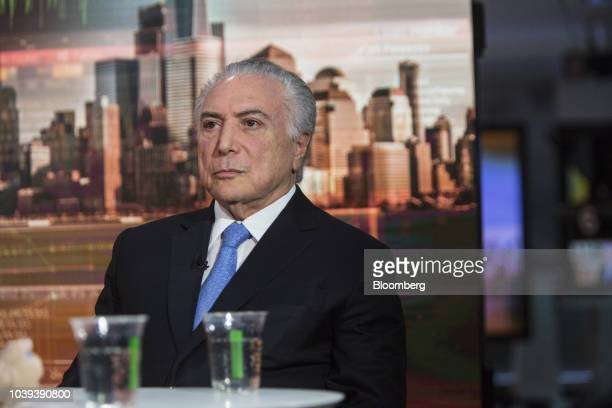 Michel Temer Brazil's president listens during a Bloomberg Television interview in New York US on Monday Sept 24 2018 Brazil in August recorded its...