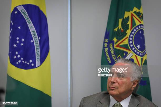 Michel Temer Brazil's president listens during a news conference on the the federal district subway expansion at the Planalto Palace in Brasilia...