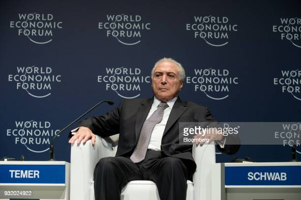 Michel Temer Brazil's president listens during the World Economic Forum on Latin America in Sao Paulo Brazil on Wednesday March 14 2018 The World...