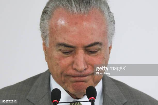 Michel Temer Brazil's president pauses while speaking during a news conference on the the federal district subway expansion at the Planalto Palace in...