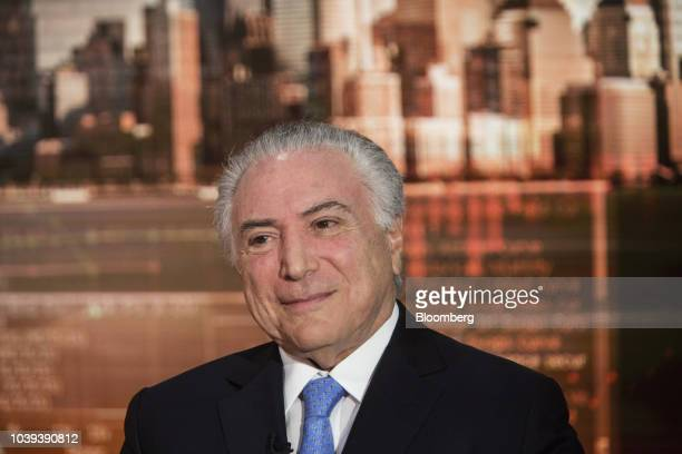 Michel Temer Brazil's president smiles during a Bloomberg Television interview in New York US on Monday Sept 24 2018 Brazil in August recorded its...