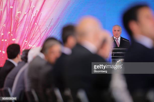 Michel Temer Brazil's president speaks during a ceremony marking his second year in office at the Planalto Palace in Brasilia Brazil on Tuesday May...