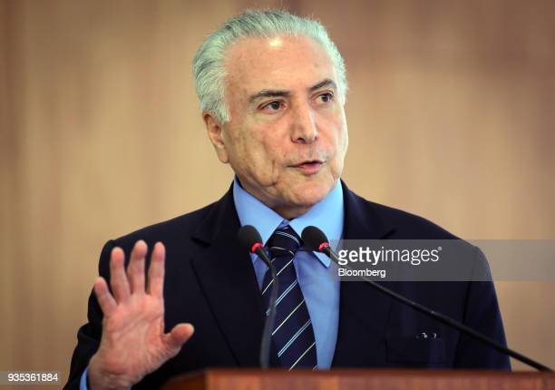 Michel Temer Brazil's president speaks during a joint press conference with Juan Manuel Santos Colombia's president not pictured at the Planalto...