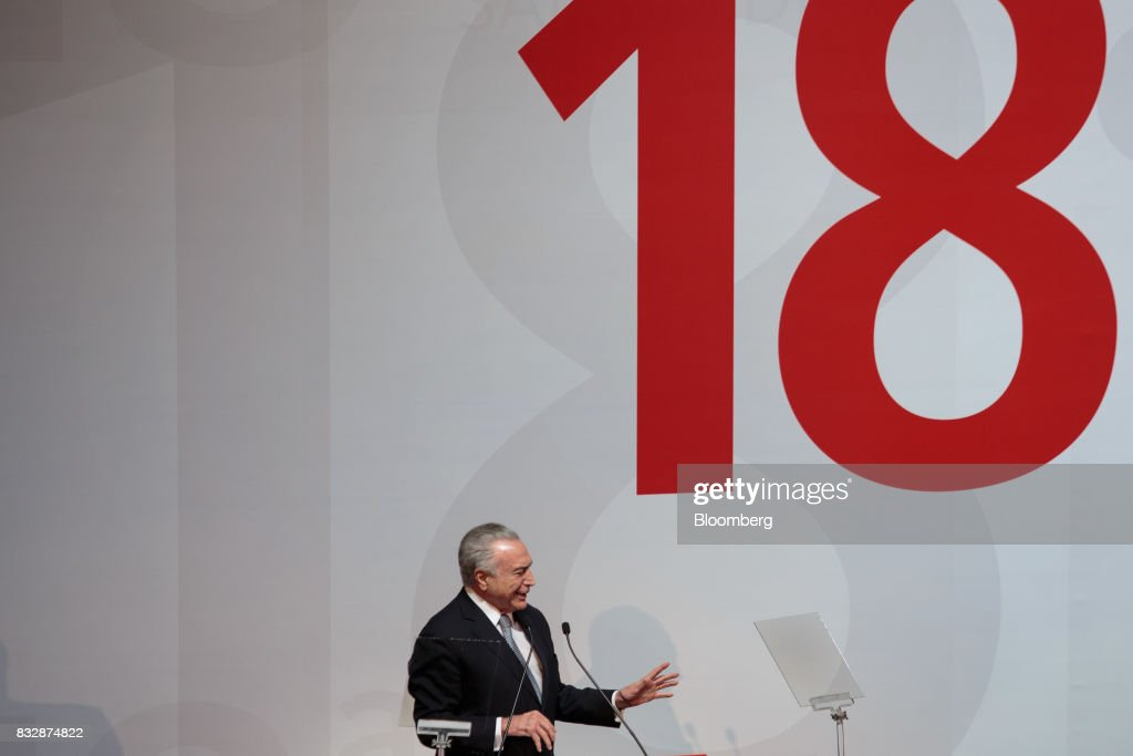 Michel Temer, Brazil's president, speaks during the Annual Santander Conference in Sao Paulo, Brazil, on Wednesday, Aug. 16, 2017. Temer announced that he will travel to China at the end of the month to meet with the business community as interest in investing in Brazil grows. Photographer: Patricia Monteiro/Bloomberg via Getty Images