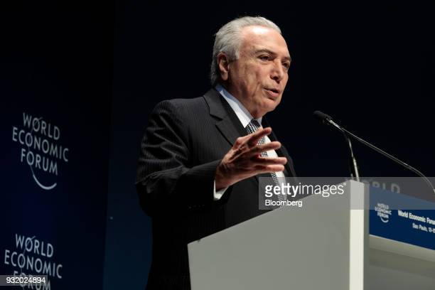 Michel Temer Brazil's president speaks during the World Economic Forum on Latin America in Sao Paulo Brazil on Wednesday March 14 2018 The World...