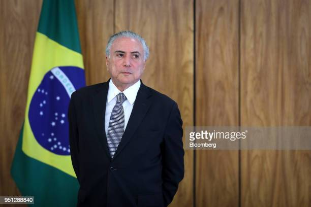 Michel Temer Brazil's president waits for ambassadors during a ceremony of accreditation at the Planalto Palace in Brasilia Brazil on Wednesday April...