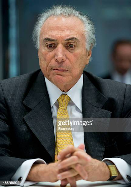 Michel Temer Brazil's vice president listens during an interview in New York US on Monday April 3 2014 An inflation rate exceeding the target range...