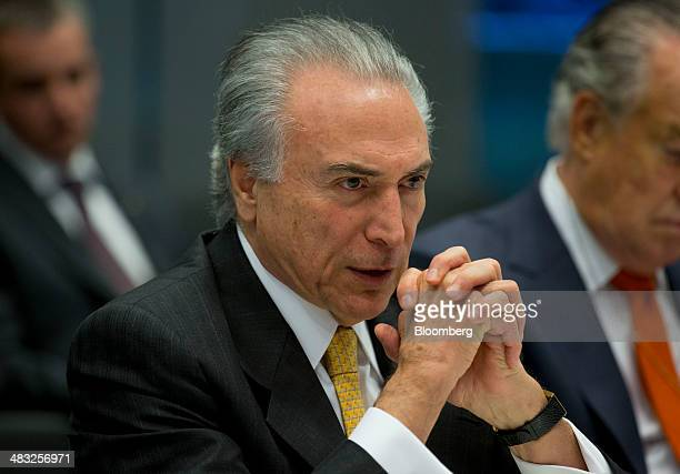 Michel Temer Brazil's vice president speaks during an interview in New York US on Monday April 3 2014 An inflation rate exceeding the target range...